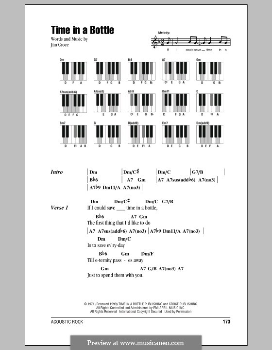 Time in a Bottle: Lyrics and piano chords by Jim Croce