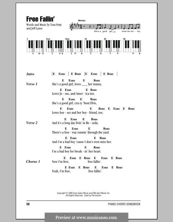 Free Fallin By J Lynne Sheet Music On Musicaneo
