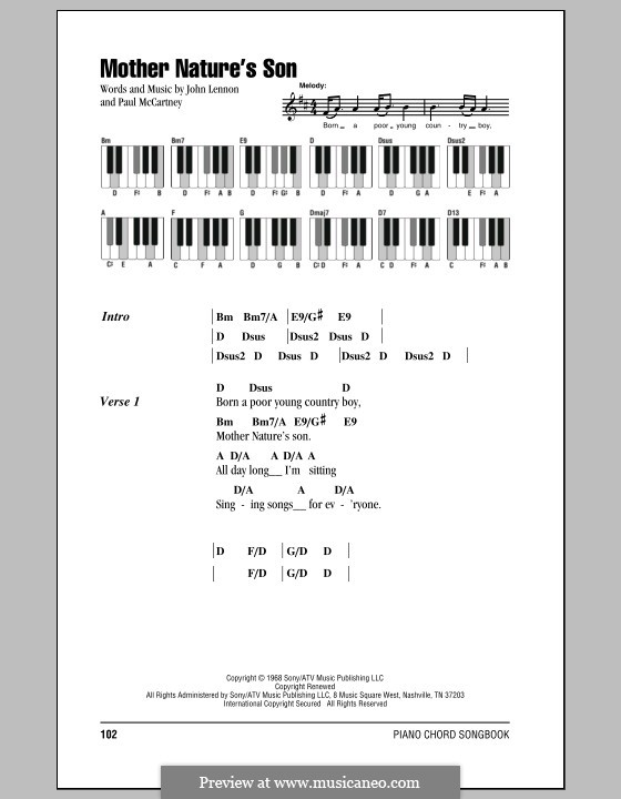Mother Nature's Son (The Beatles): Lyrics and piano chords by John Lennon, Paul McCartney