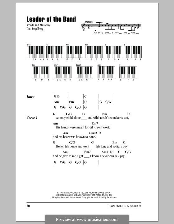 Leader of the Band: Lyrics and piano chords by Dan Fogelberg