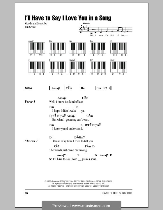 I'll Have to Say I Love You in a Song: Lyrics and piano chords by Jim Croce