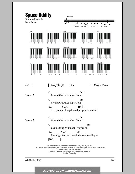 Space Oddity: Lyrics and piano chords by David Bowie