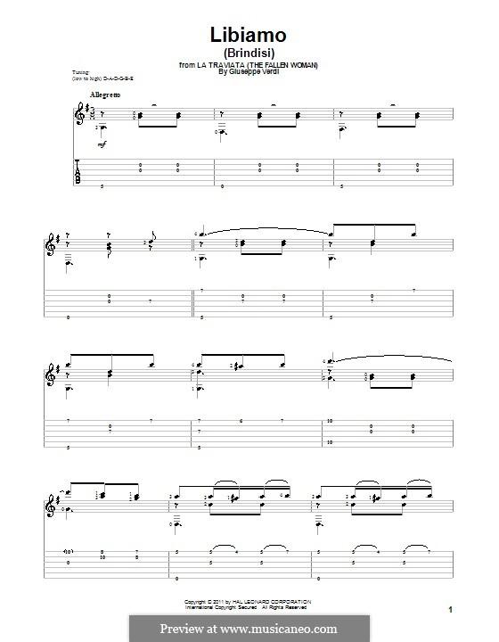 Libiamo ne'lieti calici (Brindisi): For guitar by Giuseppe Verdi