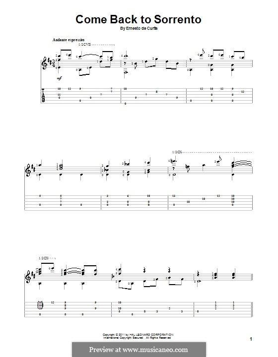 Torna a Surriento: For guitar with tab by Ernesto de Curtis