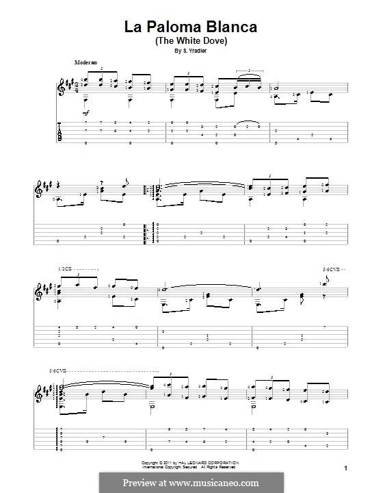 La Paloma (The Dove): For guitar with tab by Sebastián Yradier