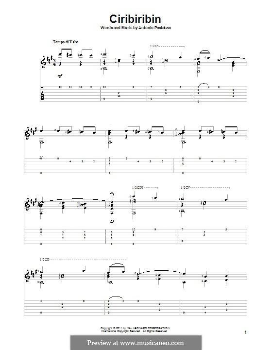 Ciribiribin: For guitar by Albert Pestalozza