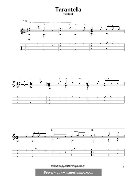 Tarantella Napolitana: For guitar by folklore