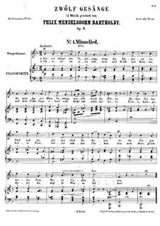 Twelve Songs, Op.8: Complete set by Felix Mendelssohn-Bartholdy