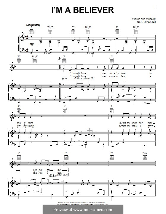 I'm a Believer: For voice and piano or guitar (F Major) by Neil Diamond