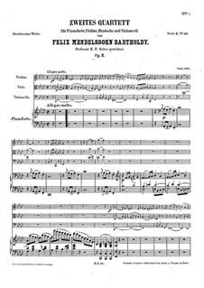 Piano Quartet No.2 in F Minor, Op.2: Full score by Felix Mendelssohn-Bartholdy