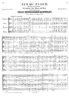 Psalm No.100 'Jauchzet dem Herrn': Psalm No.100 'Jauchzet dem Herrn' by Felix Mendelssohn-Bartholdy