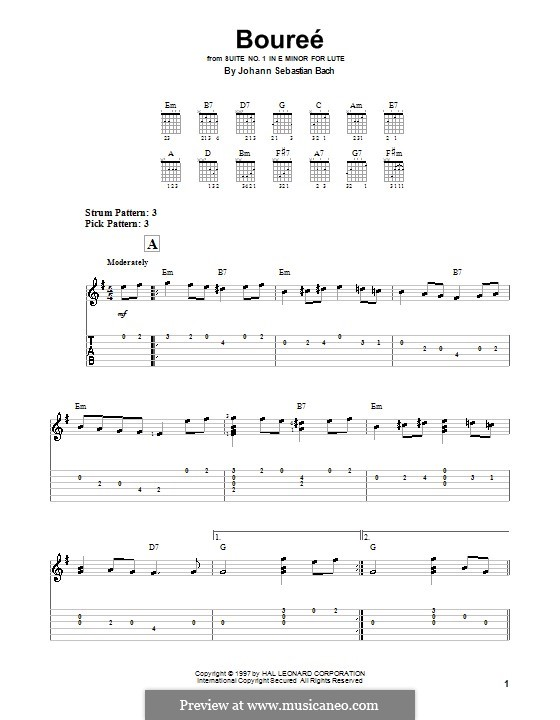 Bourrée  Version for easy guitar (with tab)