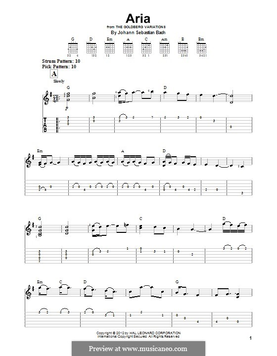 Aria, for easy guitar (with tab)