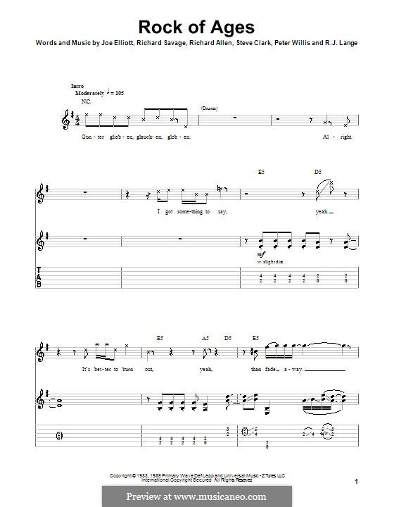 Rock of Ages (Def Leppard): For guitar with tab by Joe Elliott, Peter Willis, Richard Allen, Richard Savage, Robert John Lange, Steve Clark
