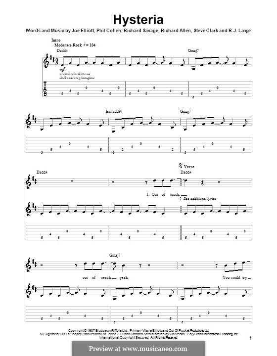 Hysteria (Def Leppard): For guitar with tab by Joe Elliott, Phil Collen, Richard Allen, Richard Savage, Robert John Lange, Steve Clark
