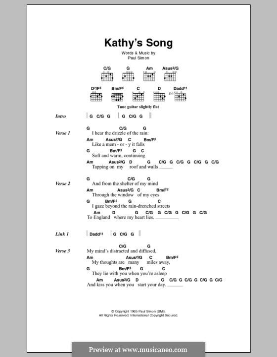 Kathy\'s Song (Simon & Garfunkel) by P. Simon - sheet music on MusicaNeo