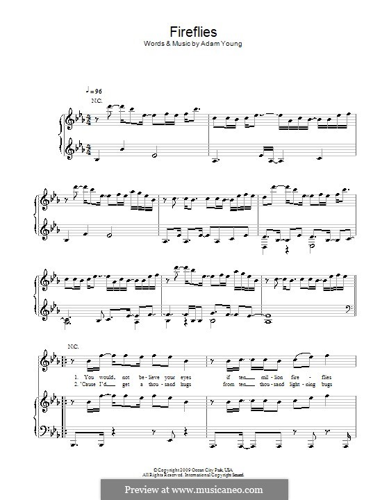 Fireflies Owl City By A Young Sheet Music On Musicaneo