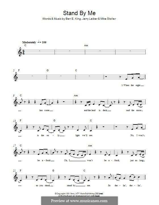 Stand By Me: Melody line, lyrics and chords by Ben E. King, Jerry Leiber, Mike Stoller