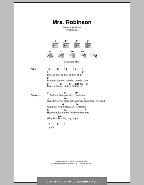 Mrs Robinson Simon Garfunkel By P Simon Sheet Music On Musicaneo