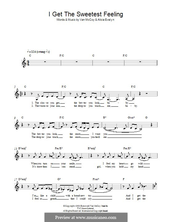 I Get the Sweetest Feeling (Jackie Wilson): Melody line, lyrics and chords by Alicia Evelyn, Van McCoy