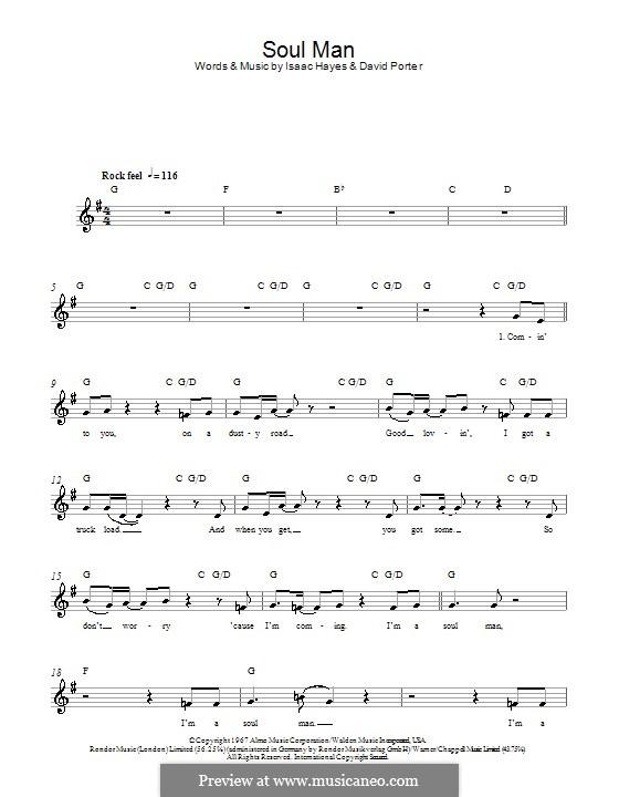 Soul Man (Sam & Dave): Melody line, lyrics and chords by David Porter, Isaac Hayes