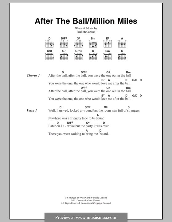 After The Ball/Million Miles: Lyrics and chords by Paul McCartney