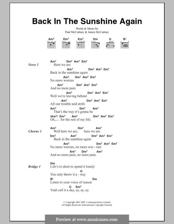 Back in the Sunshine Again: Lyrics and chords by James McCartney, Paul McCartney