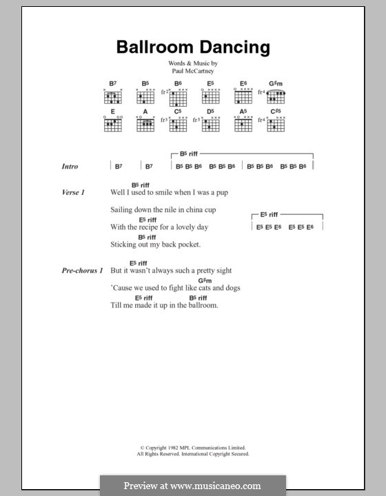 Ballroom Dancing: Lyrics and chords by Paul McCartney