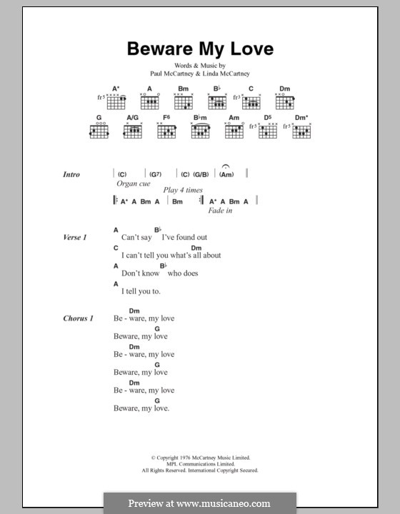 Beware My Love: Lyrics and chords by Linda McCartney, Paul McCartney
