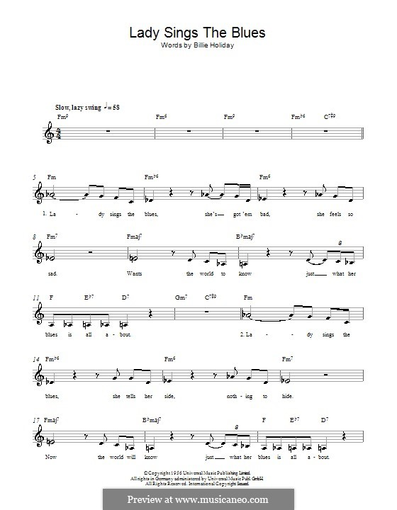 The Lady Sings the Blues (Billie Holiday): Melody line, lyrics and chords by Herbie Nichols