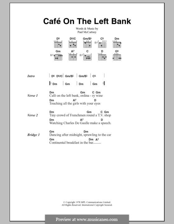 Cafe on the Left Bank: Lyrics and chords by Paul McCartney