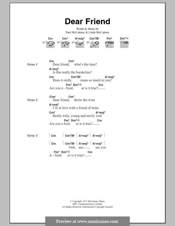 Dear Friend (Wings): Lyrics and chords by Linda McCartney, Paul McCartney
