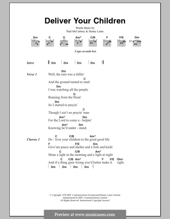 Deliver Your Children (Wings): Lyrics and chords by Denny Laine, Paul McCartney