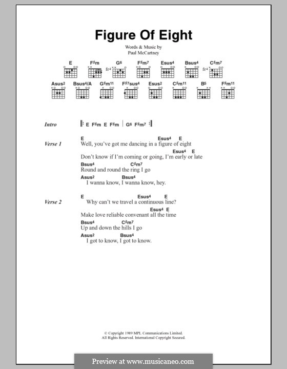 Figure of Eight: Lyrics and chords by Paul McCartney