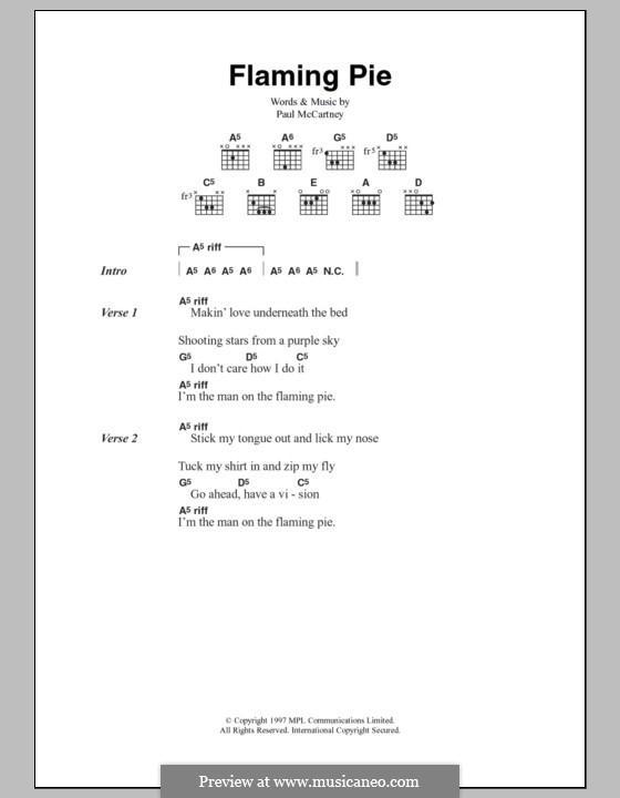 Flaming Pie: Lyrics and chords by Paul McCartney