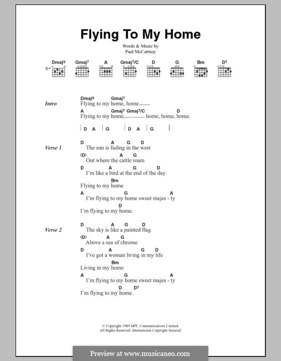 Flying to My Home: Lyrics and chords by Paul McCartney
