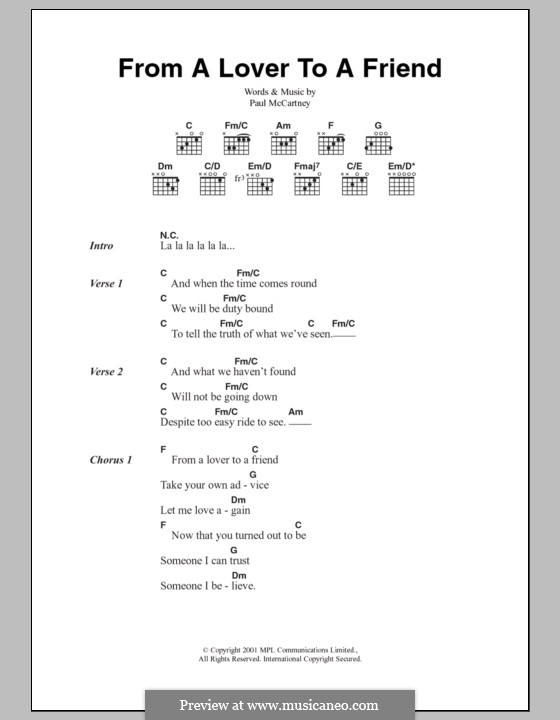 From a Lover to a Friend: Lyrics and chords by Paul McCartney