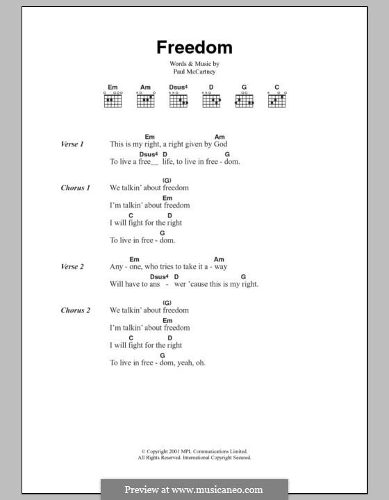 Freedom: Lyrics and chords by Paul McCartney