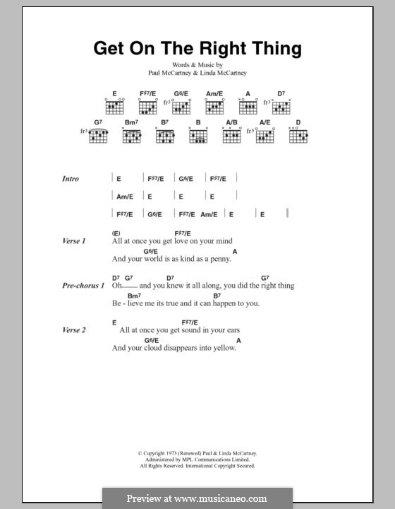 Get on the Right Thing (Wings): Lyrics and chords by Linda McCartney, Paul McCartney