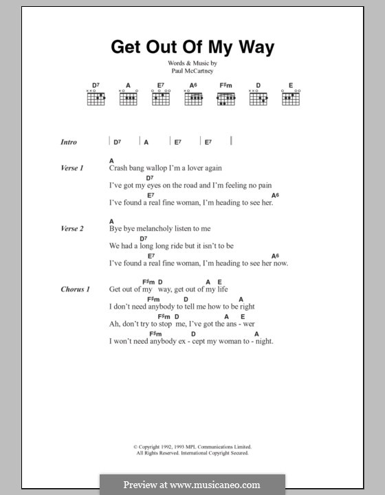 Get Out of My Way: Lyrics and chords by Paul McCartney