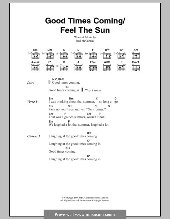 Good Times Coming/Feel the Sun: Lyrics and chords by Paul McCartney