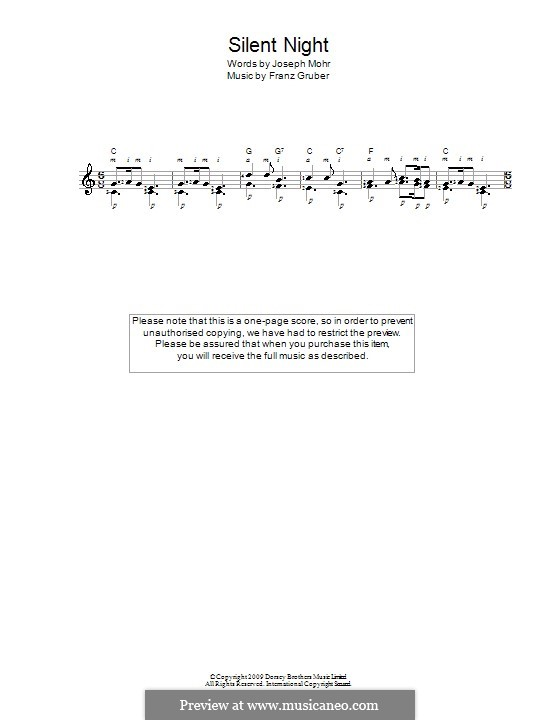 Silent Night (Printable): For guitar by Franz Xaver Gruber