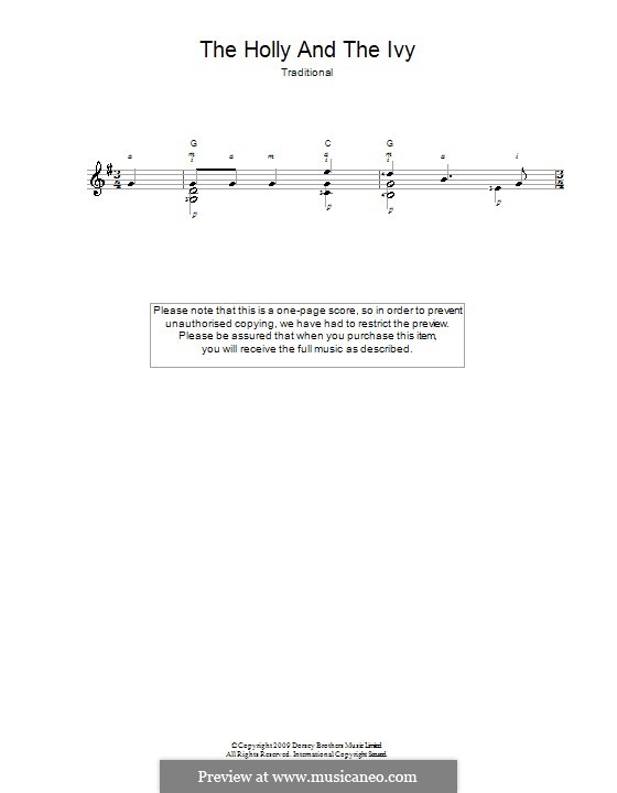 The Holly and the Ivy: For guitar by folklore