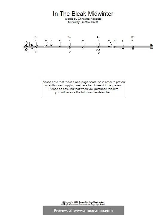 In the Bleak Midwinter: For guitar by Gustav Holst