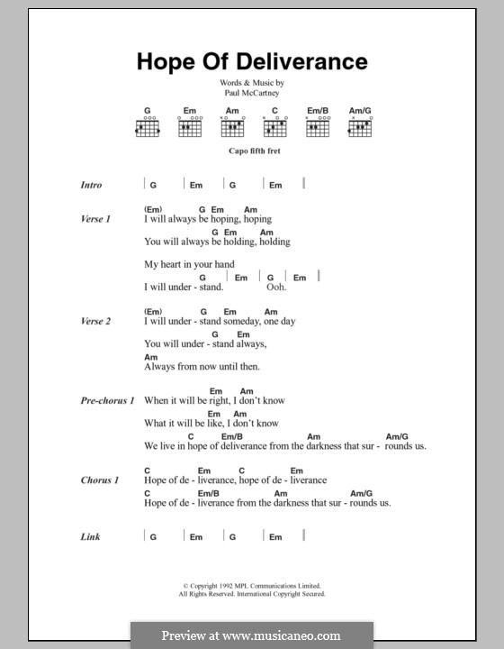 Hope of Deliverance: Lyrics and chords by Paul McCartney