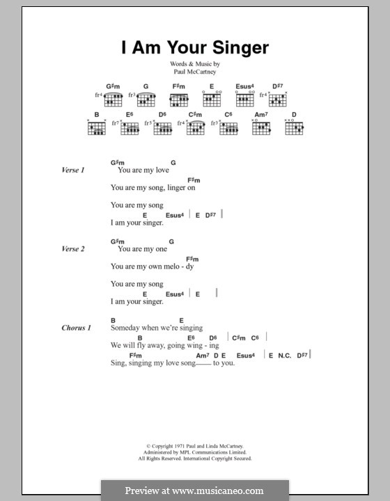 I Am Your Singer (Wings): Lyrics and chords by Paul McCartney