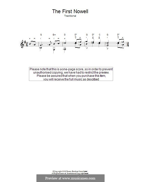 The First Nowell (The First Noël), Printable scores: For guitar (classical) by folklore