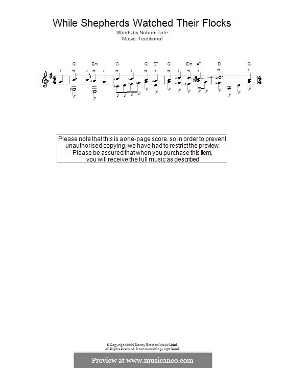 While Shepherds Watched Their Flocks: For guitar with tab by folklore