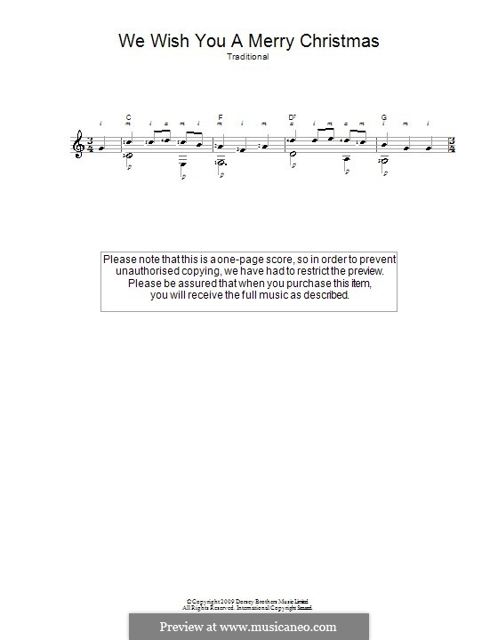 We Wish You a Merry Christmas (Printable Scores): For guitar by folklore