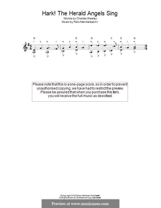 Hark! The Herald Angels Sing, for Solo Instrument: For guitar by Felix Mendelssohn-Bartholdy